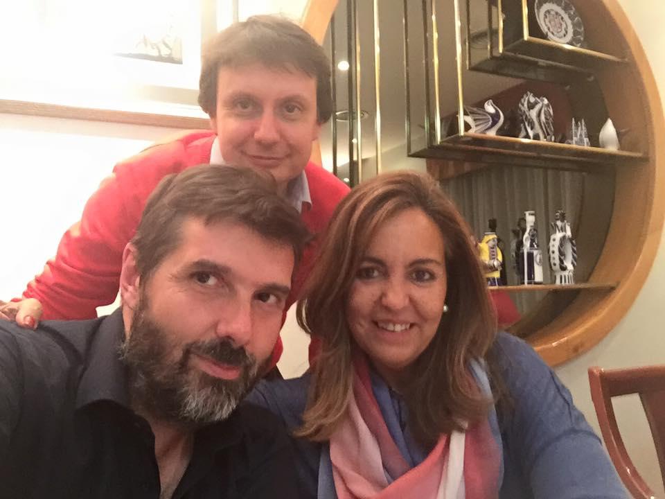 Con Christian Delgado y Fidel Martín en Santiago de Compostela